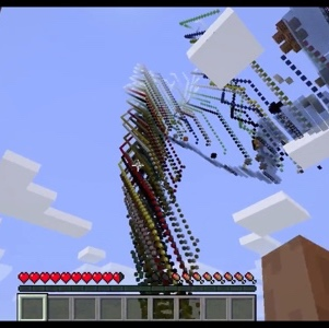 Minecraft game, looking up at a spiral structure in the sky.