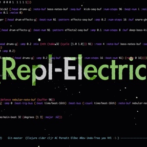 Black screen with bright colors writing 'Repl-Electric'. Overlayed with code.