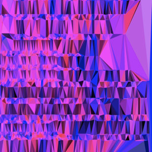 A rectangle filled with triangles of purples and pinks. The shape of the lines and layout of the programming code are visibile in the triangles.